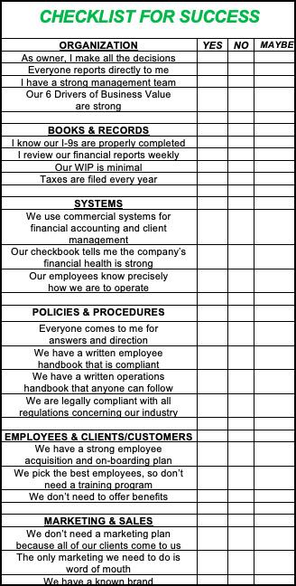 checklist richbiz